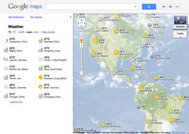 Google maps affiche la météo