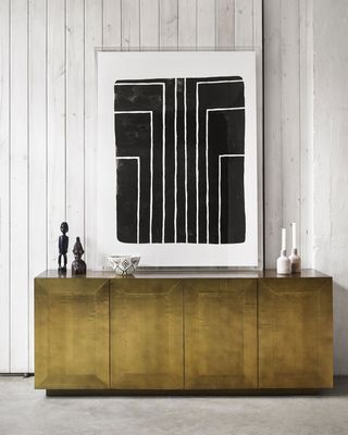 NEIMAN MARCUS Aged Brass-Covered Sophie Console