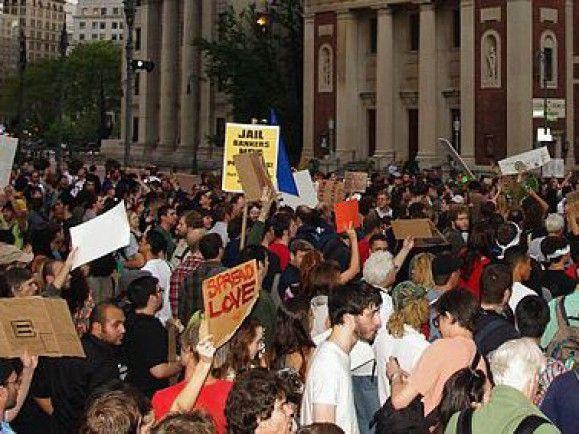 Protest gegen die Herrschaft von einem Prozent der Bevölkerung: Occupy-Demonstration in New York. Foto: © David Shankbone/ wikipedia