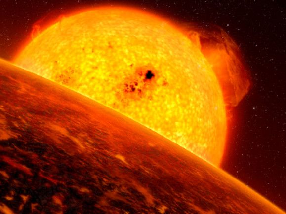 So dicht wie der Planet in dieser Illustration kommt Kepler-22b seiner Sonne nicht - auf Keplers Oberfläche herrschen angenehmere Temperaturen. © ESO/L. Calcada/dapd