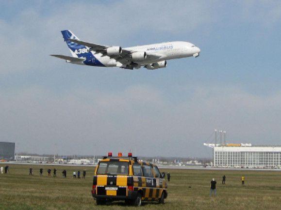 Ein Airbus A380 bei der Landung am Flughafen München. Foto: © qayyaq/pixelio.de