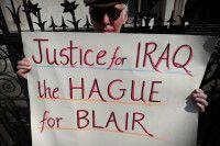 fordert 2012 in London Gerechtigkeit für den Irak und ein Verfahren gegen den ehemaligen britischen Premierminister Tony Blair. Foto: Carl Court/AFP