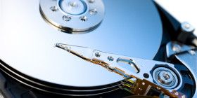 Close up of modern opened hard disk drive