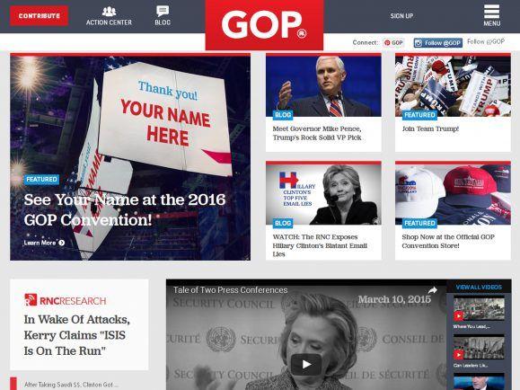 Startseite der Webseite der Republikaner - ohne Donald Trump. Foto: Screenshot gop.com