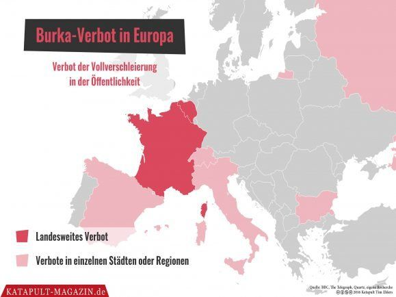 Die Karte der Woche: Burkaverbot in Europa.