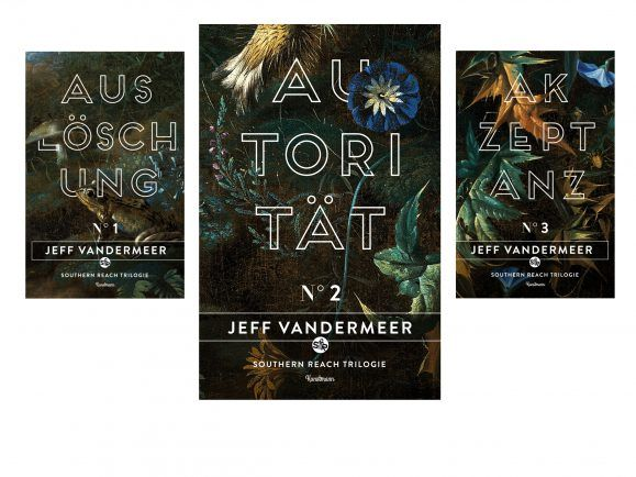 Die drei Bände der Southern-Reach-Trilogie von VanderMeer.