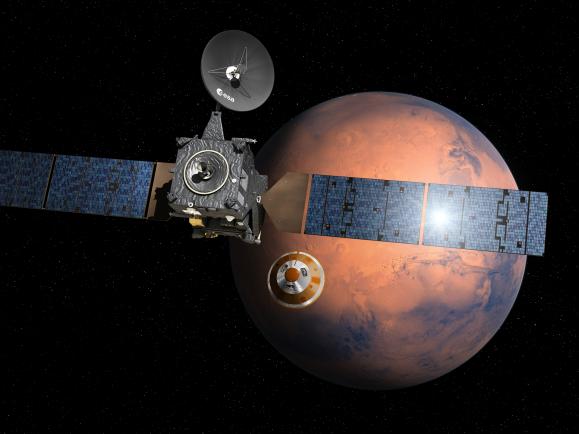 """Der """"Trace Gas Orbiter"""" ist in einer Umlaufbahn zum Mars."""