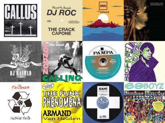 40 Lieblingstracks haben Schlachthofbronx für ihren  MiXery-Plattenkoffer-Mix ausgewählt – hier 12 Platten-Cover daraus. Collage: detektor.fm