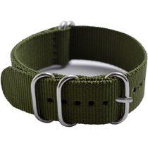 軍規五環尼龍織布錶帶-軍綠色
