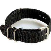 軍規尼龍帆布穿帶式錶帶 (黑色)