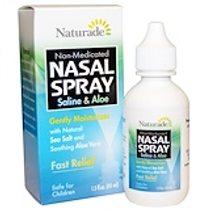 Naturade, 鼻腔噴霧劑,鹽水和蘆薈、1.5 液量盎司(45 毫升)