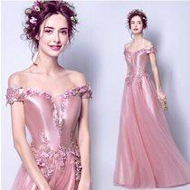 天使嫁衣【AE9712】粉色性感深V挺版上身網紗齊地晚禮服˙預購訂製款