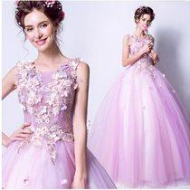 天使嫁衣【AE2067】粉紫色立體花朵透視網紗晚會齊地禮服˙預購訂製款