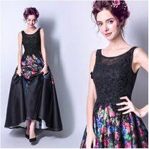 天使嫁衣【AE2323】黑色繽紛印花蕾絲上身齊地晚禮服˙預購訂製款
