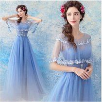 天使嫁衣【AE1568】藍紫色夢幻披肩花朵美胸齊地晚禮服˙預購訂製款
