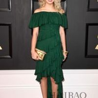 2017 New The 59th Grammy Awards Tori Kelly Celebrity Dress Green Hi Lo Tiered Pleat Sexy Off Shoulder Red Carpet Evening Dress