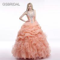 GSBRIDAL V Neck Beading Ruffles Prom Ball Gown