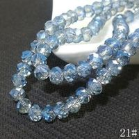 40pcs Cyan Rondelle Faceted Crystal Glass Loose Spacer Bead 8mm