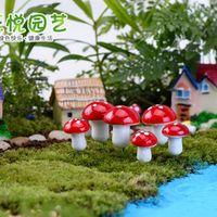 Zerkosvort 2016 10Pcs Mini Red Mushroom Garden Ornament
