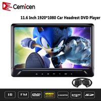 Cemicen 11.6 Inch Car Headrest DVD Player Monitor Touch Button Support Video HD