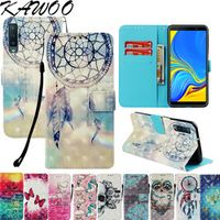 KAWOO Luxury 3D Leather Wallet Phone Case Cover on A7 2018 A750 J4 J6 For Samsung