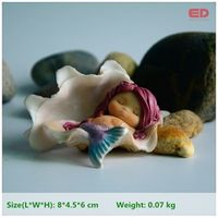 Everyday Collection Resin Shell Mermaid Terrarium Figurine Fairy Garden Decoration & Home Decoration Accessories