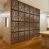 Carved Rose Style Wood Panel Folding Screen Paravent Room