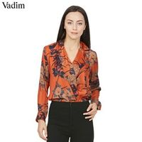 Vadim women vintage floral shirt bodysuit long sleeve