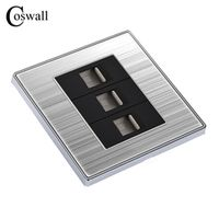 Luxury Wall Triple Internet Socket Power Computer Outlet Enchufe Stainless Steel Brushed Silver Panel RJ45 Plug Soquete