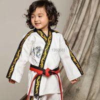 High quality children kids Taekwondo dobok cotten and bamboo fiber Taekwondo Uniform ITF Taekwondo suits Embroidered dragon