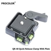 QR-40 Quick Release Clamp Adapter with Plate&Double Insurance Button for DSLR Camera Tripod Ball Head