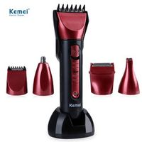 Kemei KM - 8058 Professional Washable Multi-functional Electric Hair Clipper Shaver with Scissors Comb Awls for Barber EU PLUG