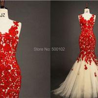 Elegant Red V Neck Appliqued Lace Sheer Back Mermaid Tulle Evening Party Dresses