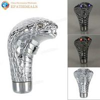 IZTOSS Universal Auto Car Manual Gear Shift Knob Stick Led Eyes Chrome Cobra Snake