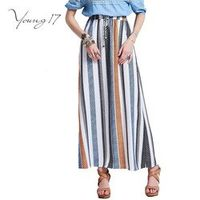 Young17 Long Skirt 2017 Bohemian Women Long Skirt High Waist Blue Striped Lace-Up Ankle Length Pleated Female Casual Skirt