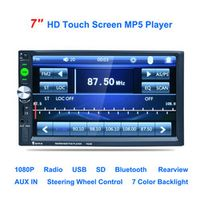 "7023B 7"" Inch Car 2DIN Touch Screen Auto Radio Video Audio MP4 MP5 Player 1080P HD TFT Bluetooth FM/USB/AUX + Rear View Camera"
