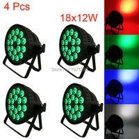 SHEHDS 4 Pcs18x12W 4IN1 RGBW Led Par Can DMX Stage Lights Business Par Lights