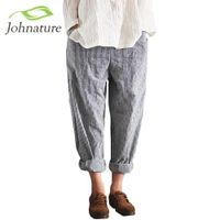 Johnature Women Striped Pants Elastic Waist Loose 2017 Spring Fashion Cotton Linen Women Clothes Pockets Vinage Casual Trouser