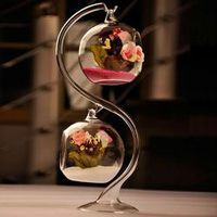 SOLEDI Clear Round with 1 Hole Flower Glass Hanging Vase
