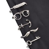 Lychee 1 piece Feather Glasses Anchor Mustache Key Shape Metal Tie Clip for Men Glasses Commercial Necktie Clips Pin