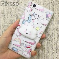 XINKSD Phone Case for Huawei P9 lite Cover 3D Cute Soft Silicone Squishy Unicorn