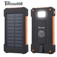 Tollcuudda Power Bank Waterproof 10000mAh 2 USB Ports External Charger Solar