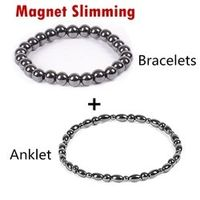 Sumifun 2 Pc/lot Magnet Black Stone Magnetic Therapy Bracelet Anklet Weight Loss