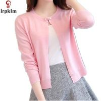 Women Slim O Neck Knitted Cardigan Cropped Cardigan Sweaters Ladies Solid Shrugs For Women Short Cardigans Candy LZ148