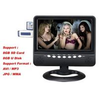 CARSOLJ 7.5 inch TFT LCD Color Analog Portable TV With Wide View Angle Support Card