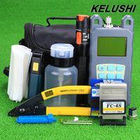 KELUSHI 19pcs/set  FTTH Tool Kit with FC-6S Fiber Cleaver and Optical Power Meter 10mW Visual Fault Locator Fiber Optic Stripper