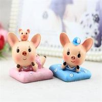 ANENG 2017 2pcs/ pig decoration PVC super cute actioni figure for cars gift