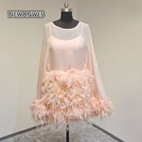 Vestido De Curto Pink Long Sleeves Short Celebrity Dress Feather Straight Mini Cocktail Party Dress Women Prom Dress Real Photo