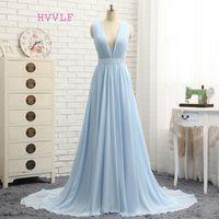 HVVLF Formal Celebrity A-line Deep V-neck Dresses