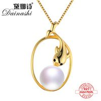 Dainashi 2017 Dolphin style 925 sterling silver pearl necklace pearls pendant gold round accessories bread round pearls jewelry
